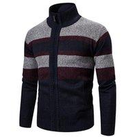 Hombre algodón mandarín collar cardigan patchwork slim fit cremallera otoño invierno cálido suéteres gruesos tejidos de punto chaquetas casuales