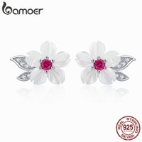 Pendientes de Bamoer para Mujeres Sterling Silver Pure Shell Leaf Flor Stud Poder Fashion Korea Style 925 Silver Jewelry BSE055 210323