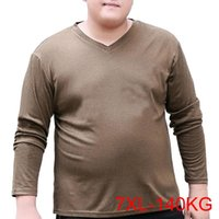 Men's T-Shirts Autumn Spring Men Tshirts 5XL 6XL 7XL Bust 144cm Plus Size V Neck Tshirt