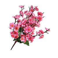 1 unids flores de seda artificial Peach Blossom Dormitorio Bouquet Faux Decoration Room Living Taby for Home Party Wedding D4Y8 Decorative Wreath