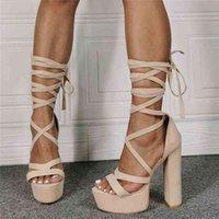 Dress Shoes Sandálias de verão femininas com plataforma alta, tamanho gran, 47 beauty, laço, damasco, aberto, bico redondo, sapatos para JO0T
