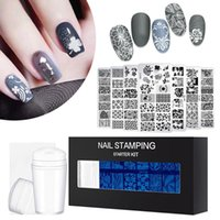 Nail Art Kits 8PCS Stamping Plates Flower Plant Leaves Templates With Stamper Scraper Image DIY Manicure Tool