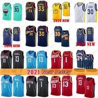 Stephen 30 Curry Klay 11 Thompson Basketball Jerseys James13 Harden 33 Wiseman John 1 Wall Jerseys 2021 Nouveau