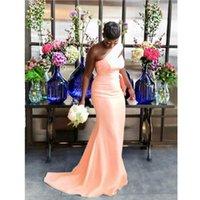 Peach Sexy Mermaid Bridesmaid платья для африканской черной девушки Одно плечо Длинные атласные свадебные вечеринки платье 2021 Женщины Официальные выпускные платья