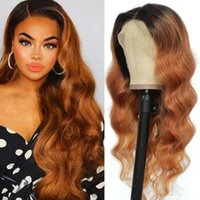 Lace Wigs Ombre Brown Body Wave Front Human Hair SOKU Brazilian Remy PrePlucked 13x4 4x4 Closure Wig For Black Women