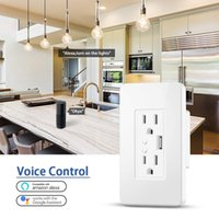 Smart WiFi Wall Outlets US Electrical Plug Sockets with USB Charger 15A Independent Switch Remote Control by Alexa Google Home