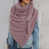 Scarves Winter Triangle Scarf For Women Designer Print Shawl Knitted Thick Female Lady Warm