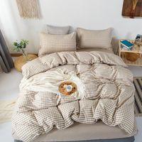 Bedding Sets Fashion Plaid Print Style 3 4pcs Cute Kids Adult Bed Linings Duvet Cover Sheet Pillowcase Home Textile