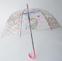 Mode Kinder Regen Getriebe Pagode Transparente Regenschirm Lange Griffe Gerade Spitzenkarikatur Pony Einhorn Gedruckt Sonnenschirme A6172