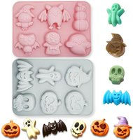 2 Pieces Halloween Baking Cake Molds Set Pumpkin Bat Skull Ghost Shape Silicone Mold for Chocolate Candy Ice Cube Melt Biscuits Halloween Party Decorating Tools