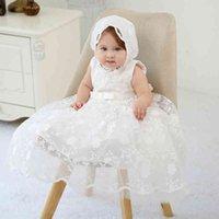 NOUVEAU-né bébé robe robe de filles 0-24m creux sans manches solides arc bow buire fermeture à glissière de baptection robe tenue avec chapeau creux
