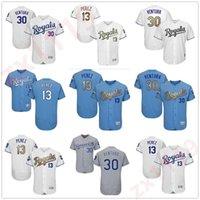 남성 여성 청소년 키즈 KC 로얄 저지 30 Yordano Ventura 13 살바도르 페레즈 홈 블루 화이트 회색 야구 유니폼