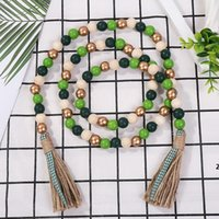 Candy Color Wood Bead String Décor Pendentif Creative Hemp Tassel Perles Tassel Nordic Campagne Style Décoration DHE5492
