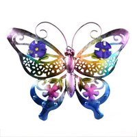 Окрашенные красивые вырезанные металлические 3D-бабочка металлическая лягушка настенные искусства крытый открытый орнаменты прокрутки антенны с крючком висит 556 v2