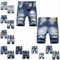 Erkekler Şort Stilisti Denim Yaz Fermuar Yırtık Jean Mens Ince Pantolon Hip Hop Kısa Kot Mavi 0102