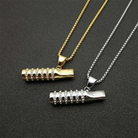 Arrival 316L Stainless Steel Chain With Gold Color Iced Out Cigarette Holder Pendant Necklace For Men Hip Hop Jewelry Necklaces