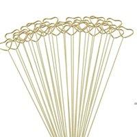 Gifts Wrap Packaging Florist Bouquet Gift Card Holders Golden Round Heart Star Metal Long Stick Flower Clip HWD10134