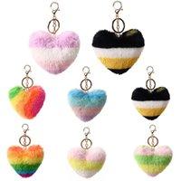 Сердце брелок дизайнер Rainbow Plush Peach Key цепи вечеринка одолжение вышивание кролика меховой мех многоцветный влюбленный подвесной сумка автомобильные аксессуары оптом