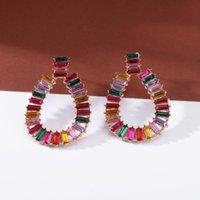 Stud Ztech Oval Fashion Holiday Bijoux Pendientes Mujer Moda Big Crystal Boucles d'oreilles pour Femmes Girls Party Accessoires