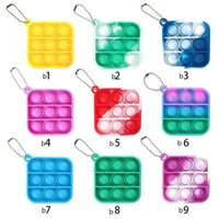 US Stock 50pcs Simple Dimple Push Pop It Keychain Sensory Kid Fidget Toy Stress Bubble Key Ring Push Bubble Board Finger Pendant