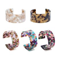 Акриловая черепаха оболочки смолы широкий леопардовый печать мода ювелирные изделия браслеты