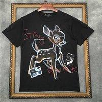 Marcelo Barrett Erkekler Kısa Kollu Tişört Otel Punk Sika Deer Desen Kadın T Shirt | Streetwear 2191001606