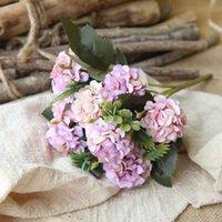 Flores decorativas grinaldas seda artifcial peônia ramalhetes hydrangea casamento decoração rosa rosa rosa diy acessórios