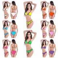 Riemen Strand Sets Frauen Solide Farbe Bikini Bademode Mode Trend Sexy Back BH Slip Slip Swimsuit Weibliche Sommer Kreuz Schulter