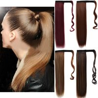 """Synthetic Wigs Ponytail Wrap Long Straight Clip In Pony Tail False Hair Fake Hairpiece Heat Resistant For Women 22"""" 100g"""