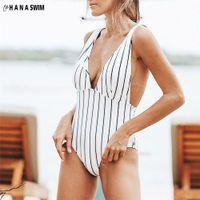 Swimsuit Lace Up One Piece Vertical Stripe Womens Deep V-neck Sexy Backless Bandage Monokini Swimwear Bathing Suit Beach Wear
