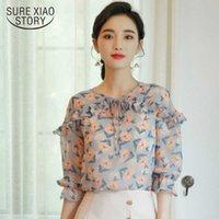 Womens tops e blusas mulheres camisas babifos chiffon camisa de mola camisa pequena moda floral selvagem fina 2742 50 210528