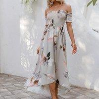 Платья для вечеринок Simplee Sexy Off-Flow Rugle Летние Длинные платья Женщины повседневная асимметрия Печать Maxi Spring Slim 2021