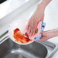 10 unids / lote Herramientas de limpieza de cocina linda de doble cara de dibujos animados de impresión de la cocina de la limpieza de la limpieza del paño de la limpieza 16 * 27/25 * 25cm EEB4075