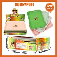Honeypuff Portable Rolling Tray Plastc Cigarette Container Smoking Plate Hand Roller Tobacco Storage cookies runtz backwoods bag