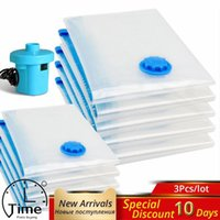 Storage Bags Home Vacuum For Clothes Bag With Valve Transparent Border Foldable Compressed Organizer Space Saving Seal Packet