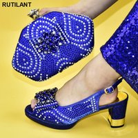 Dress Shoes Latest African Bag And Shoe Set Blue Italian Fashion Women Wedding Pumps With Purse For