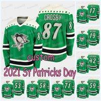Pittsburgh Penguins 2021 St. Patricks Day Jersey Sidney Crosby Jake Guentzel Teddy Blueger Juuso Riikola Bryan Rust Brian Dumoulin Justin Schultz Kris Letang