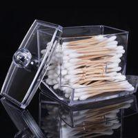 Storage Boxes & Bins Makeup Organizer Acrylic Cotton Swabs Box Holder Transparent Stick Make Up Cosmetic Case
