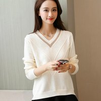 Women's Sweaters 2021 Autumn And Winter Sweater Female V-neck Hollow Long-sleeved Loose Korean Version Of The Wild Pullover