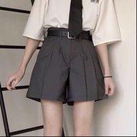 Elegantes mujeres pantalones cortos estilo sólido traje suelto verano cintura alta preppy srtle con fajas