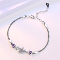 New fashion female box box chain sier color bracelet temperament simple dazzling five - pointed crystal bracelet jewelry