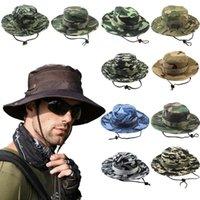 Amplia sombreros de ala estilo 2021 hombres y mujeres al aire libre camping Color sólido Pescador Pescador Sol de protector solar Camuflaje Pesca Pesca Senderismo