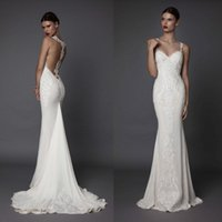Berta Mermaid 2019 Wedding Dresses Pearls Lace Applique Crystal Sweep Train Fishtail Bridal Gowns New Arrival
