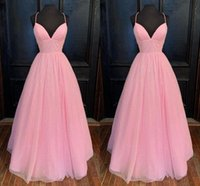 Pink Sparkly V neck Bridesmaid Dresses Floor Length Halter A line Pleated Backless African Prom Evening Party Dress