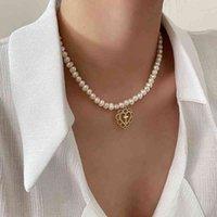 Ретро девушка дворцовый дворец полый любовный крест подвесной жемчужный чехлок цепь цепи ожерелье для женщин бусины