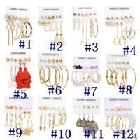 Vintage Tassel Pearl Earrings For Women Bohemian Mix Hoop Earrings Set Big Dangle Drop Earring Brincos Female Fashion Jewelry
