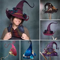 New Women Modern Witch Hat Costume Sharp Pointed Wool Felt Halloween Party Hats Witch Hat Warm Autumn Winter Cap Cosplay Props G0915
