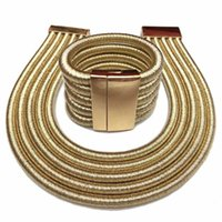 Fashion Ethiopian African Jewelry Set Magnetic Buckle Choker Necklace Women Multilayer Weaving Exaggerated Necklace Bracelet 210619