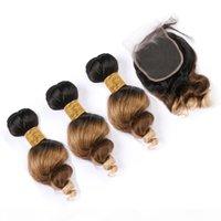# 1B 4 27 Оммре Малайзийская свободная волна человеческих волос 3 пачков с кружевным закрытием 4x4 черно-коричневый до медового блондинка 3tone Ombre волос