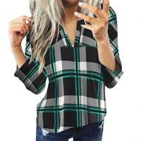 Camicette per collo moda donna casual manica lunga camicia a plaid da donna slim top chemise femme manche camicie longue